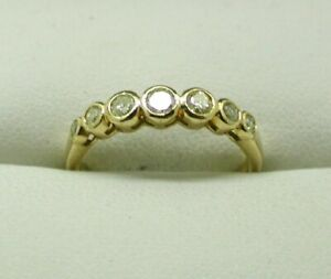Lovely-18-Carat-Gold-Seven-Stone-Champagne-Diamond-Half-Eternity-Style-Ring