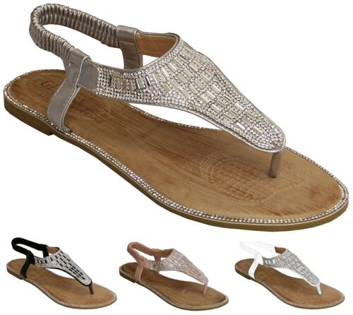 New Womens Diamante Sling Back Strap Slip On Casual Flat Sandals Shoes