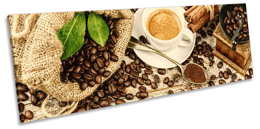 Coffee Cappuccino Café braun Bild PANORAMA CANVAS Wand Kunst Drucken