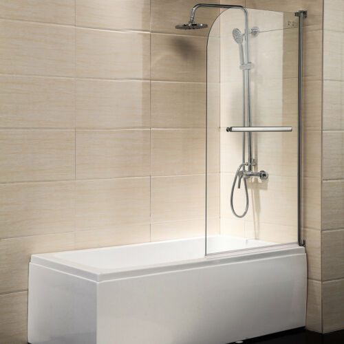 "Modern 55/""X31/"" 1//4 Bath Shower Door Hinged Frameless Clear Glass Chrome"