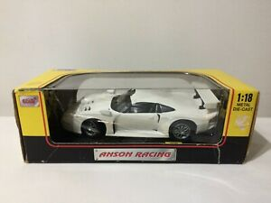 Anson-Porsche-911-GT1-escala-1-18-auto-Diecast-Metal-Blanco