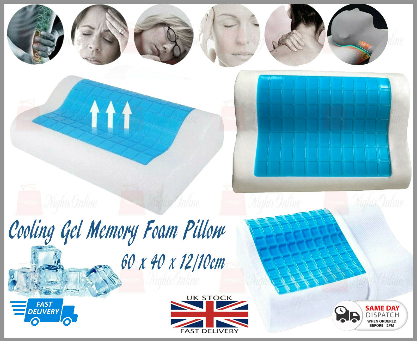 Magic Cooling Orthopedic Memory Foam Contour Cervical Pillows Gel Head Neck Back Ebay