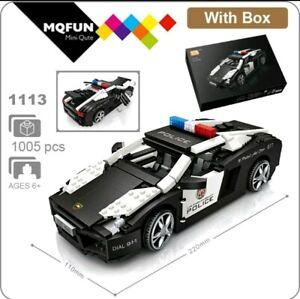 UK LOZ Kits Mini Building Block iBlock 1:18 1113 Lambourgini Police Car Boxed