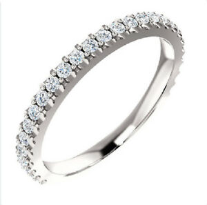 0-50-Ct-Natural-Round-Cut-Diamond-Band-3-4-Way-H-VS1-VS2-18K-White-Gold