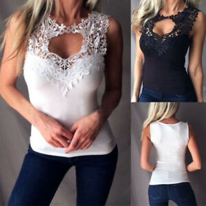 Women-Lace-Vest-Top-Sleeveless-Blouse-Casual-Tank-Tops-Slim-T-Shirt-Summer