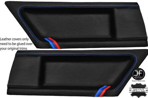 BLUE STITCH M STRIPES 2X REAR DOOR CARD LTHR COVERS FITS BMW E36 COUPE 91-98