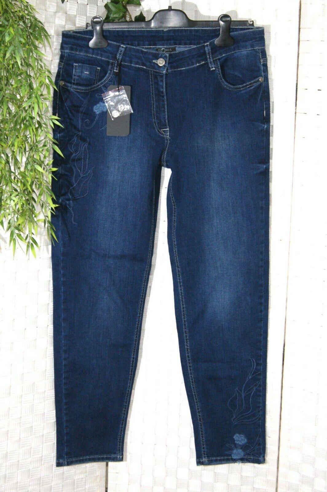 NEU TOP SECRET Damen Jeans Hose 44 46 48 blau Blaumen Stickerei STRETCH User