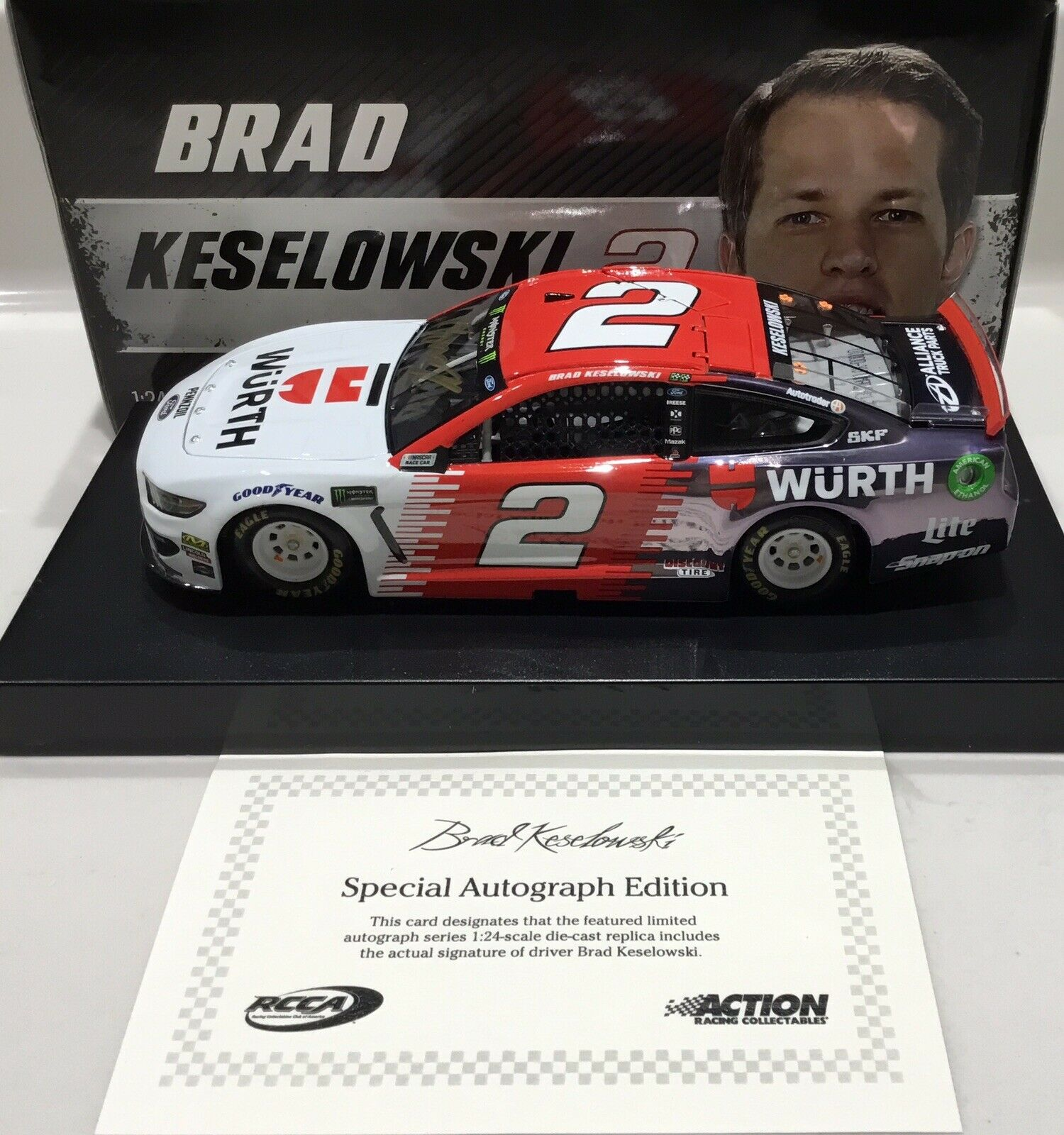 "2019 1 24  2 Brad Keselowski ""Wurth""  CC - Car- 1 of 48 Mustang Same Day Ship"