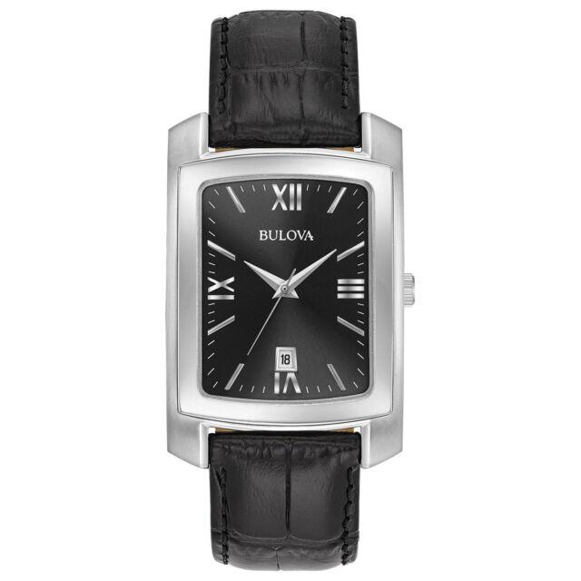 Bulova Classic Men's Quartz Black Dial Leather Band 47mm Watch 96B269