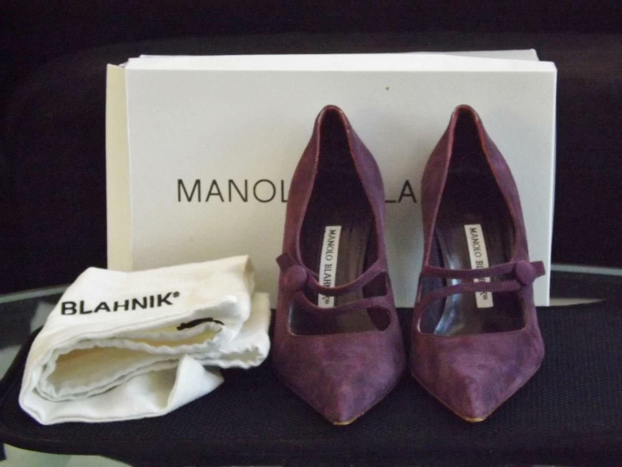 Manolo Blahnik violet Suede High Heel chaussures Pumps 6.5 Pointed Toe 3.5  Heel Box