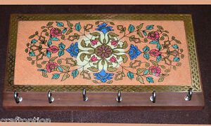 Gemstone glass painting carved wood key wall organizer with six hooks from India