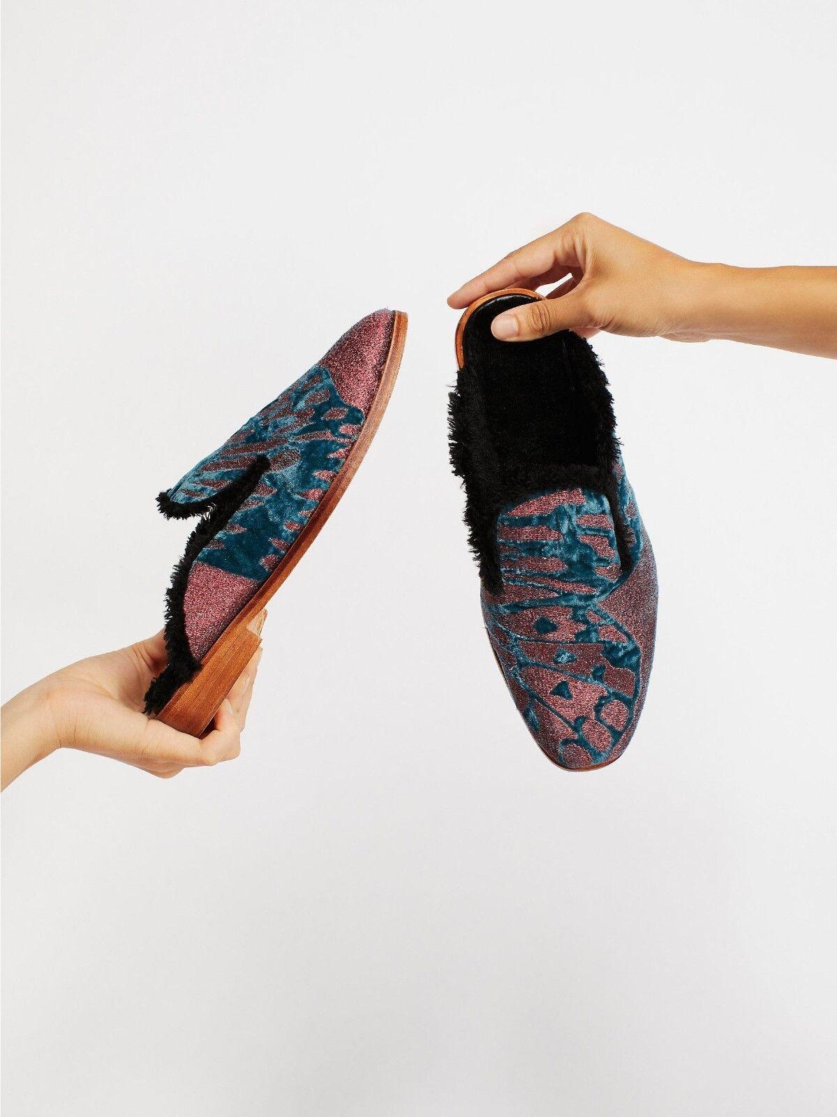 FREE PEOPLE Mule 39 BUTTERFLY EFFECT Velvet Faux Fur Lined chaussures rouge bleu 9 NIB