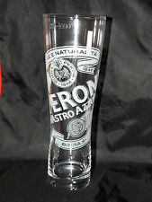 """PERONI NASTRO AZZURRO PINT 9½"""" 24cm TALL LAGER BEER GLASS WITH BASE WIDGET"""