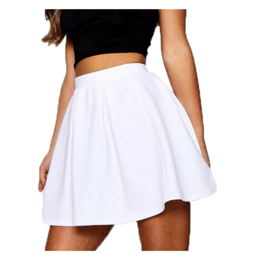 WVS Women Ladies Stretch Plain Flared Circular Mini VISCOSE SKIRT
