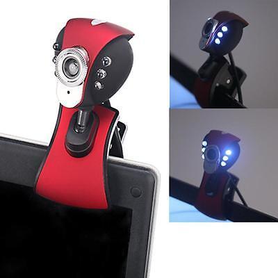 USB 2.0 6LED Night Vision Webcam Camera Web Cam w// Mic Clip for PC Laptop Skype