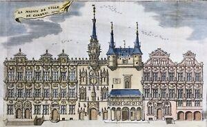 Hotel-de-Ville-de-Cambrai-en-1743-Rare-gravure-sur-Cuivre-ancienne