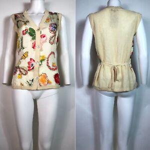 Rare Vtg Gucci 90s Ecru Floral Print Silk Linen Button Sleeveless Top S
