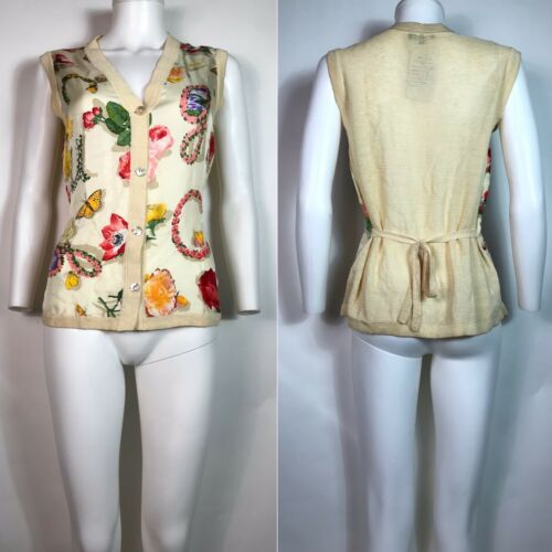 Rare Vtg Gucci 90s Ecru Floral Print Silk Linen B… - image 1