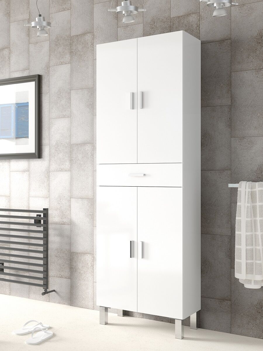 Tall bathroom cupboard white gloss cabinet shelving - White tall bathroom storage unit ...