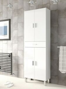 Image Is Loading Tall Bathroom Cupboard White Gloss Cabinet Shelving Storage