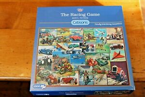 Gibsons-1000-Piece-Jigsaw-Puzzle-THE-RACING-GAME-Beryl-Peters-Cars-Bikes-Planes