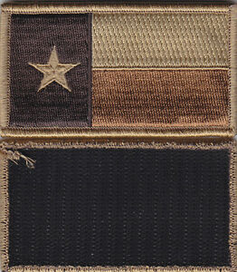 Texas TX State Flag ACU Patch MIRROR IMAGE hook fastener backing