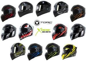 Torc T15 T15B Helmet Bluetooth Blinc or without - Inner Sun Shield DOT XS-2XL
