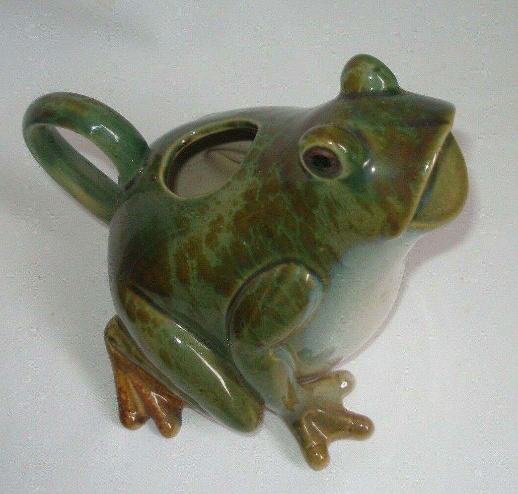 Vintage Frog Shaped Watering Pot Pitcher Heavy Ceramic Green Frog Lover Item