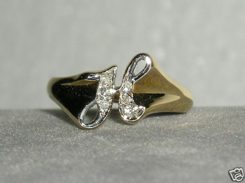 SOLID    14K gold    DIAMOND   Initial    H    Signet    Ring