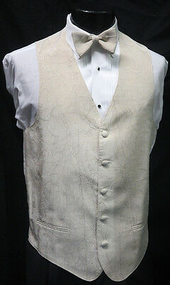 Large Men/'s White Matisse Fullback Vest /& Tie Wedding Tuxedo Prom Theatre