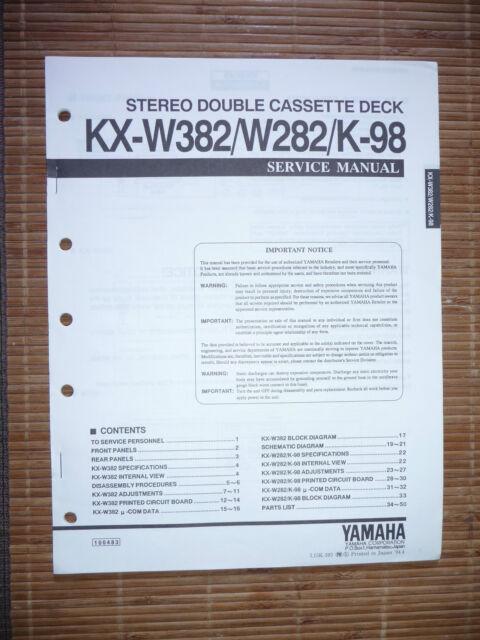 Service Manual For Yamaha Kx W282  K