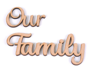 Wooden MDF Word Script Our Family Family My Family Word Tree Crafts Pack of  5   eBay