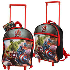 Toddler Kids MARVEL AVENGERS Preschool Rolling Trolley Wheels Backpack Bag NEW