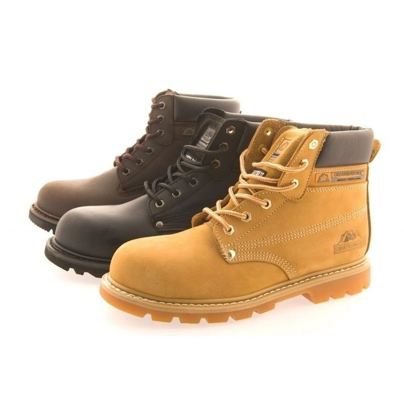 MENS SAFETY BOOTS GROUNDWORK SK21 STEEL TOE CAP LACE UP ANTI SLIP LEATHER