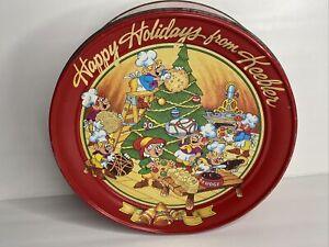 Vintage 1992 Keebler Christmas Red Cookie Tin Elves Making Cookies
