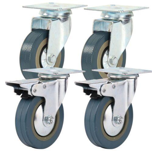Kit 4 ruote portapacchi carrello universali carico merce 100mm freno piroettanti