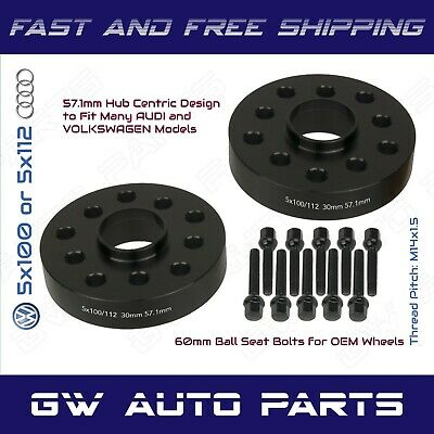 Complete Kit of 17mm Black Hubcentric Wheel Spacers 57.1 Hub 5x100 /& 5x112 Bolt Patterns 20 Pc 14x1.5 Black Ball Seat Lug Bolts Compatible with Audi Volkswagen