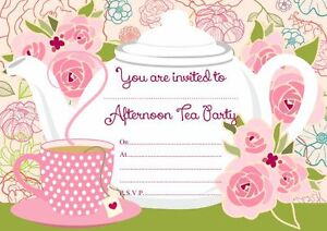 10 x Afternoon Tea Birthday Party Invitations eBay