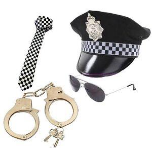 Men/'s Policeman Hat Tie Handcuffs Glasses Police Set Cop Fancy Dress Stag Fun