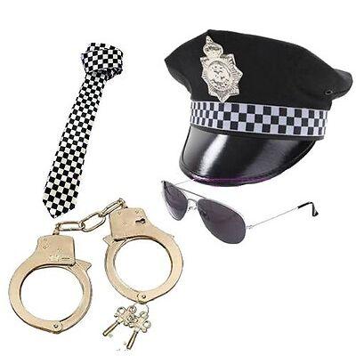 MENS POLICEMAN HAT TIE HANDCUFFS GLASSES POLICE SET MAN COP FANCY DRESS STAG