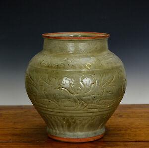 Antique-Chinese-Ming-Celadon-Longquan-Glaze-Phoenix-Floral-Body-Porcelain-Vase