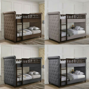 Childrens-Single-Ava-Chesterfield-Upholstered-Linen-Velvet-Bunk-Bed-amp-Mattress