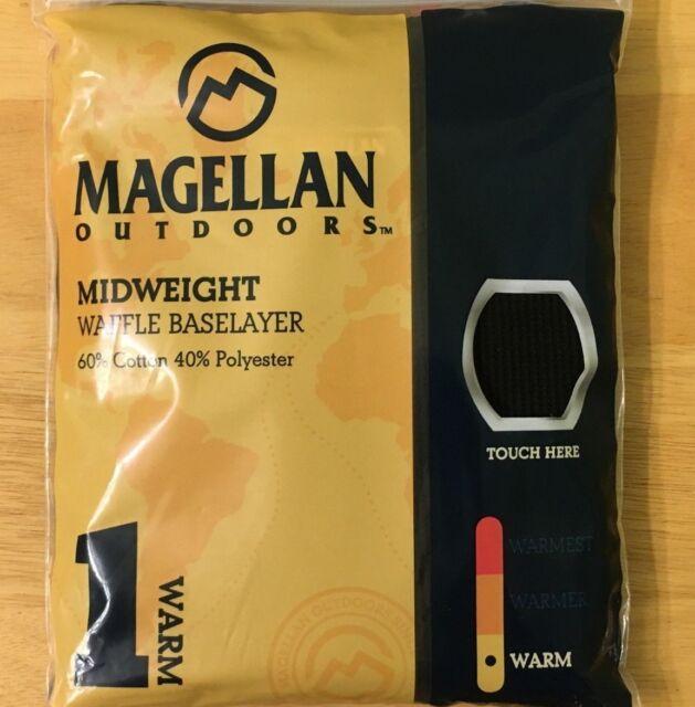 2 Magellan Outdoors Women/'s Midweight Waffle Baselayer Top Shirt Black Size L