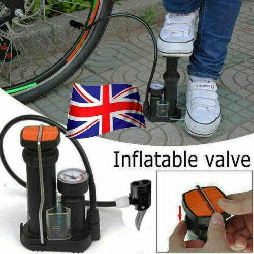 UK Mini Bike Pump Portable Bicycle Tyre Inflator Foot Pump Schrader Presta Valve
