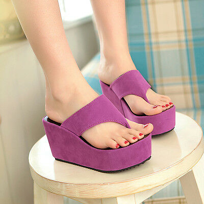 2015 Womens High Platform Wedge Heels Korea New Shoes Thongs Flip Flops Sandals