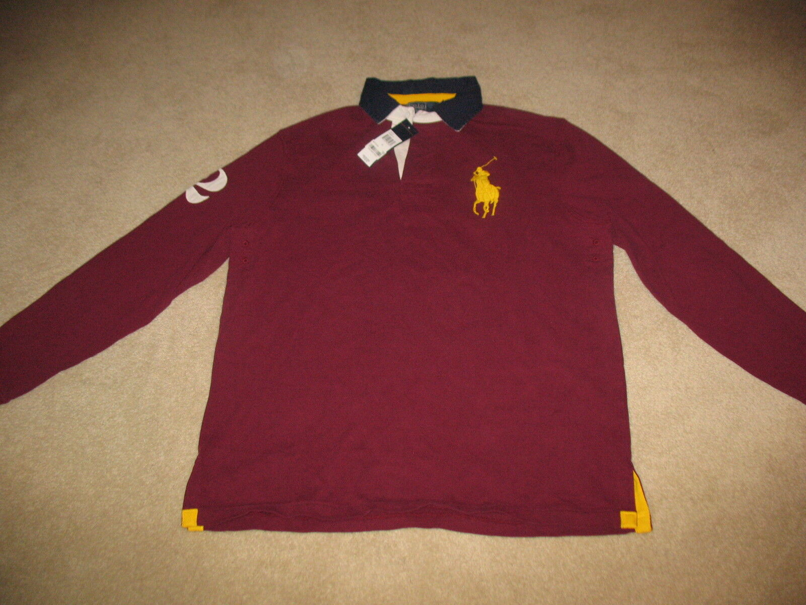 NWT Polo Ralph Lauren Men's Rugby T Shirt Small Maroon v