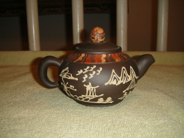 Superb Chinese Or Japanese Brown Pottery Teapot-Marked-Wording & Signs Present