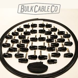 30/' MOGAMI 2319-40 BLK PANCAKE PLUGS PEDAL BOARD PATCH CABLE KIT 20 CABLES