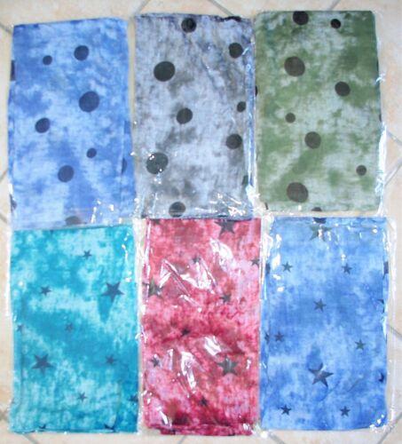 Vert Gris Bleu Etoiles Lot de 6 Foulards Pois Revendeurs Rouge