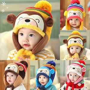 ba4f53b4f57 New Baby Toddler Winter Warm Monkey Beanie Hat Earflap Knitted Cap ...